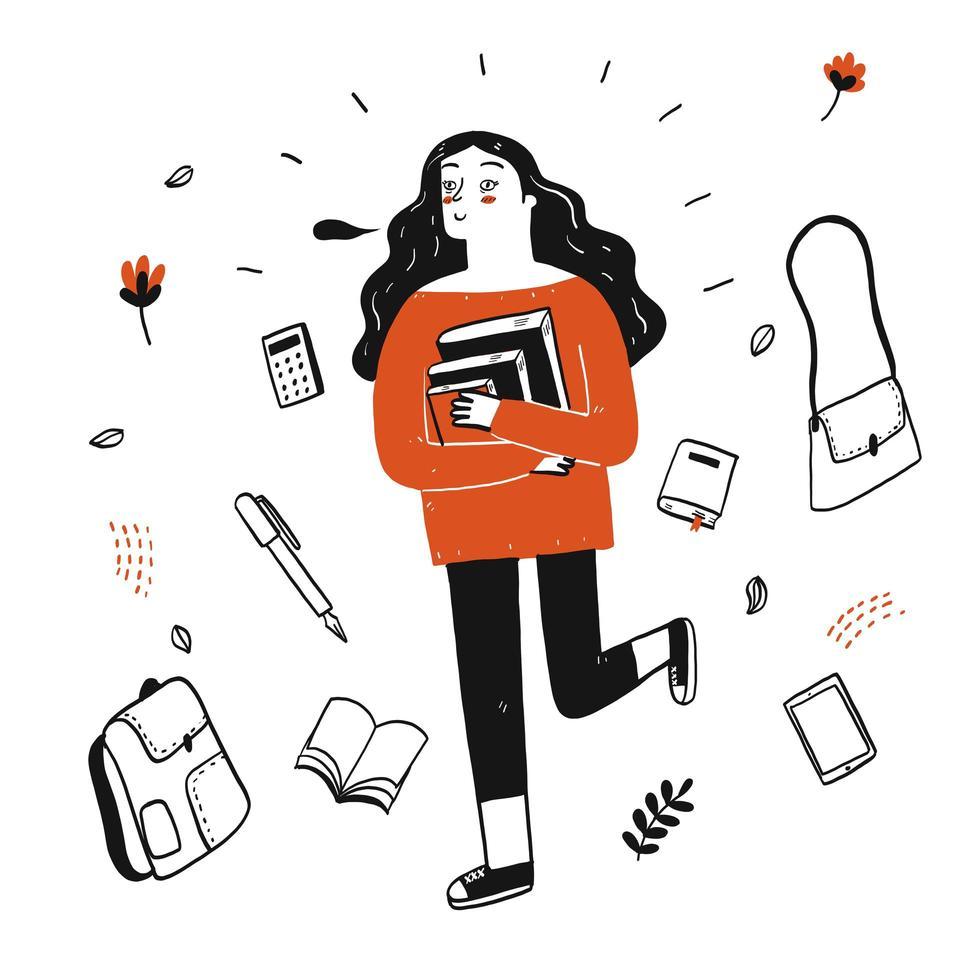 Student hält Bücher vektor
