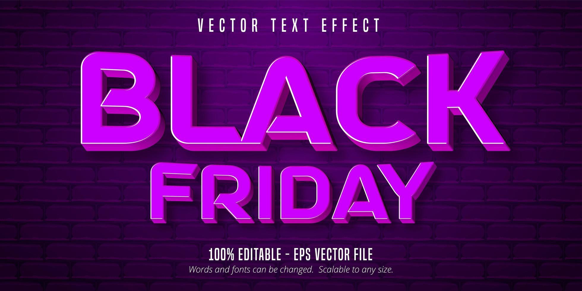 bearbeitbarer Texteffekt des lila schwarzen Freitags vektor