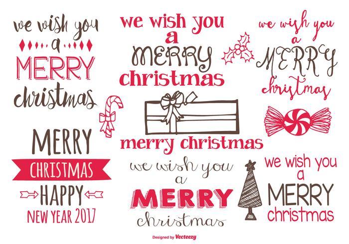 Nette Hand gezeichnete Weihnachtsetiketten vektor