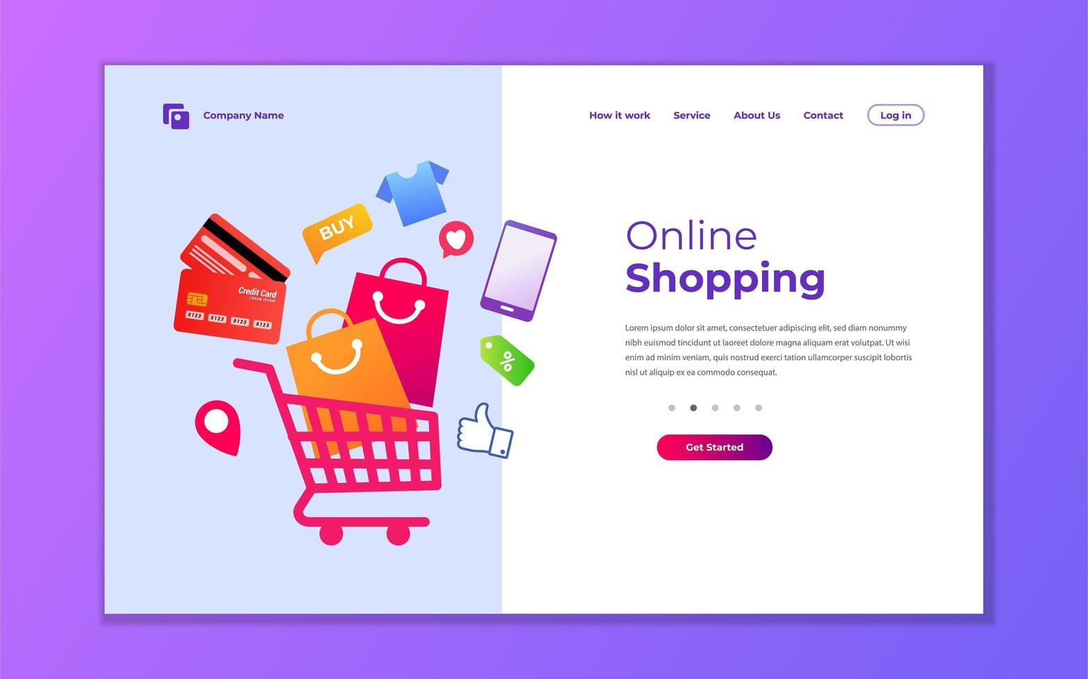 kreativ design för online-butiks målsida vektor