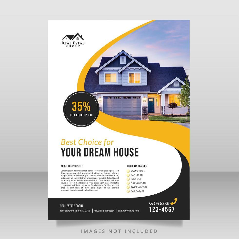 Immobilienbroschüre mit gelbem und schwarzem Wirbelmuster vektor