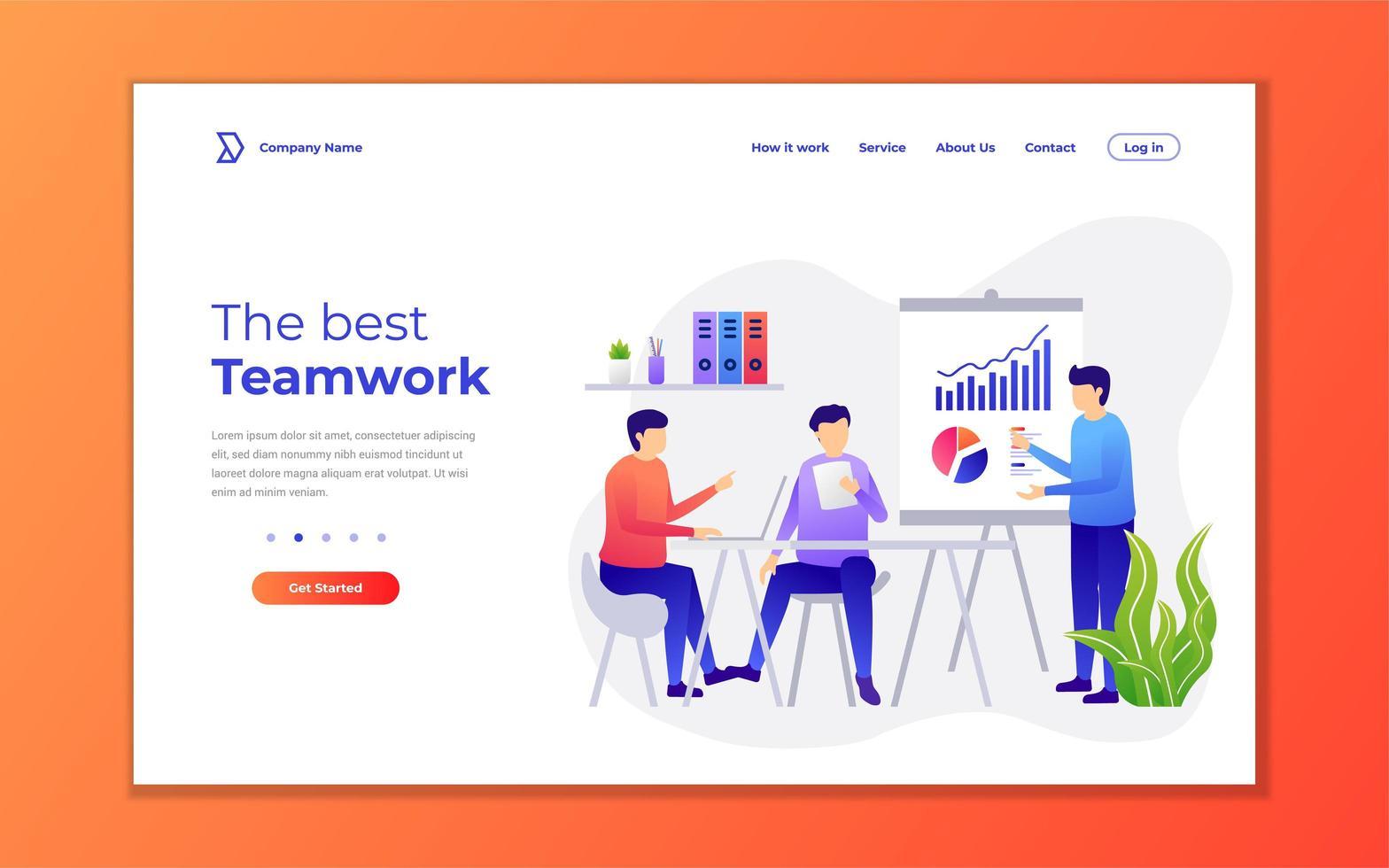 bästa teamwork-målsidan vektor