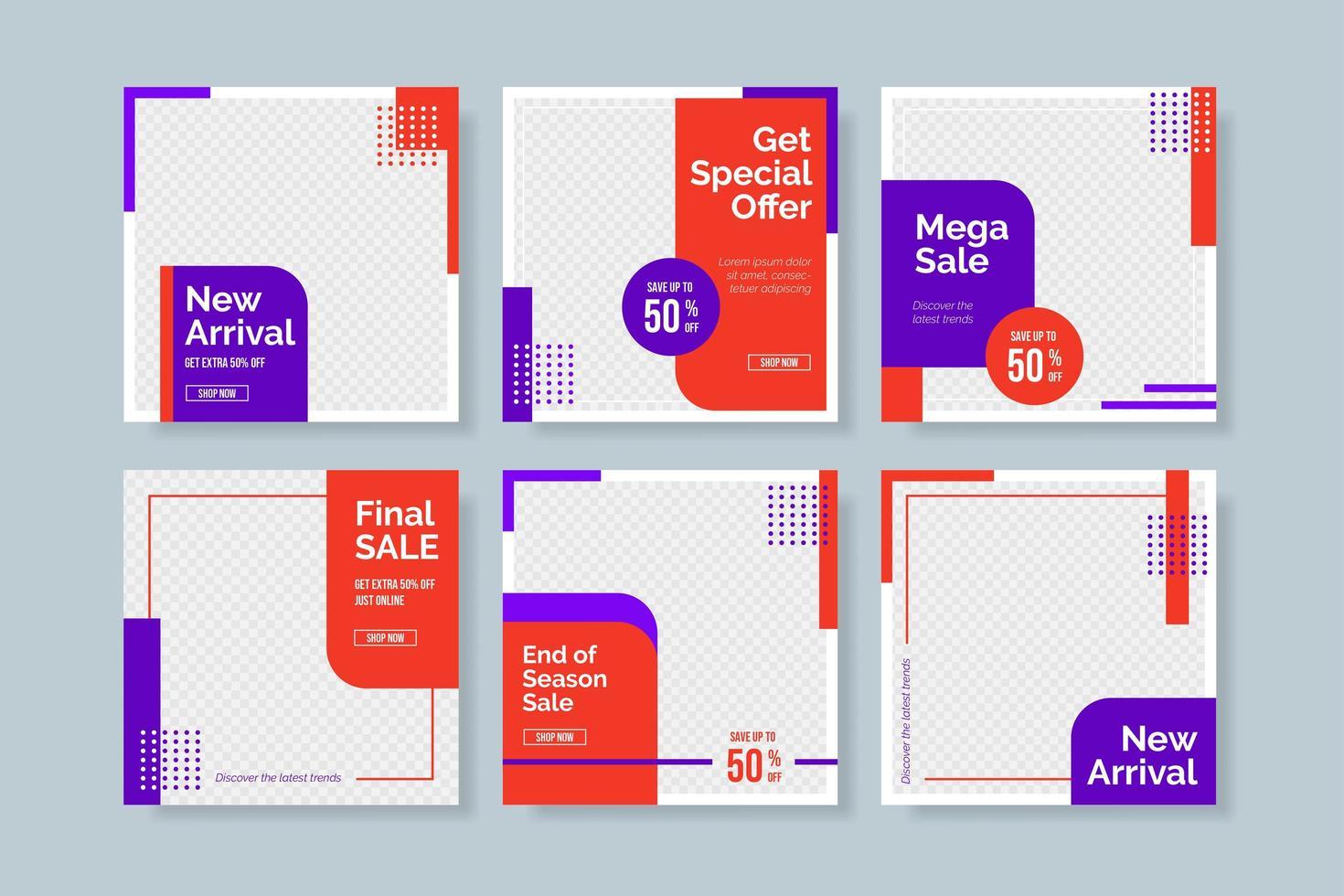 röd och lila försäljning sociala medier postmall vektor