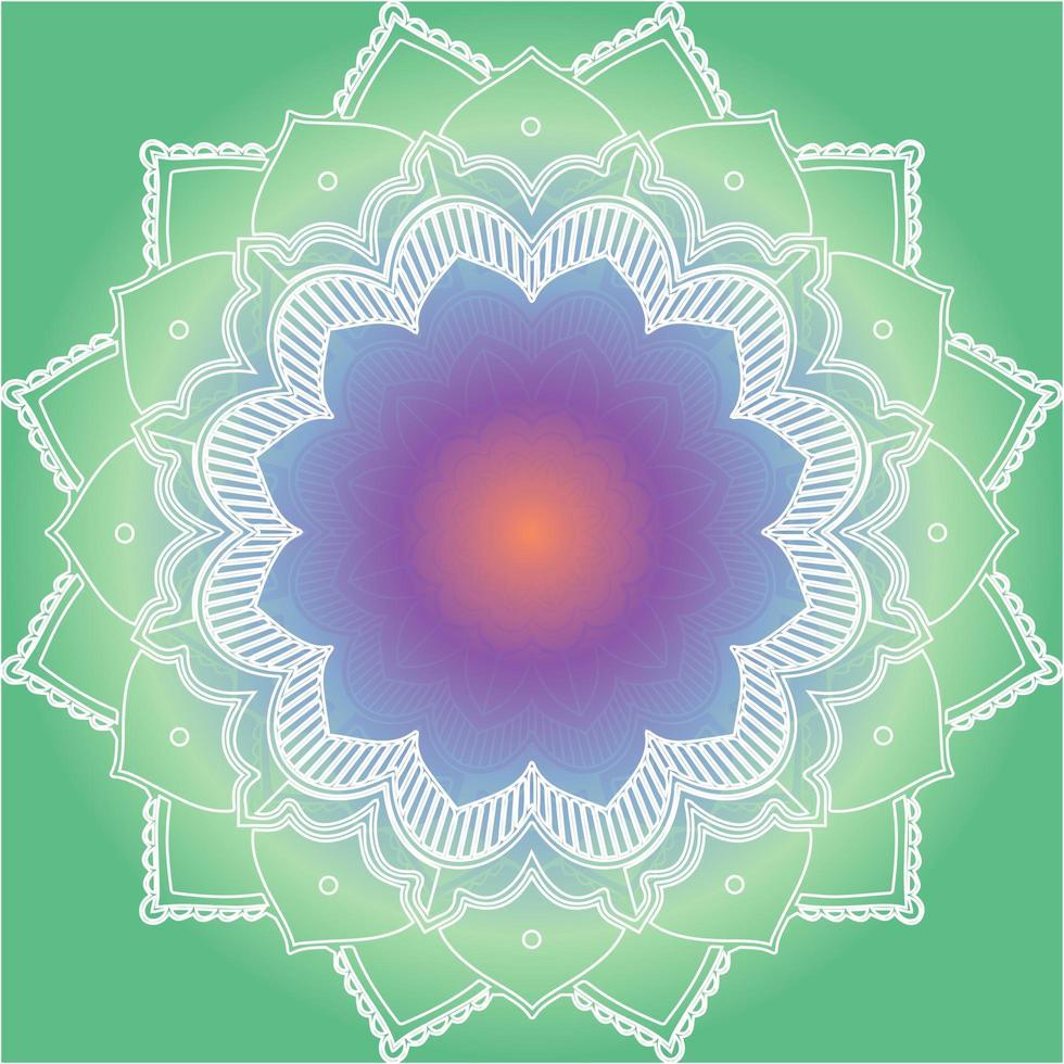 Mandalamuster auf grünem Hintergrund vektor
