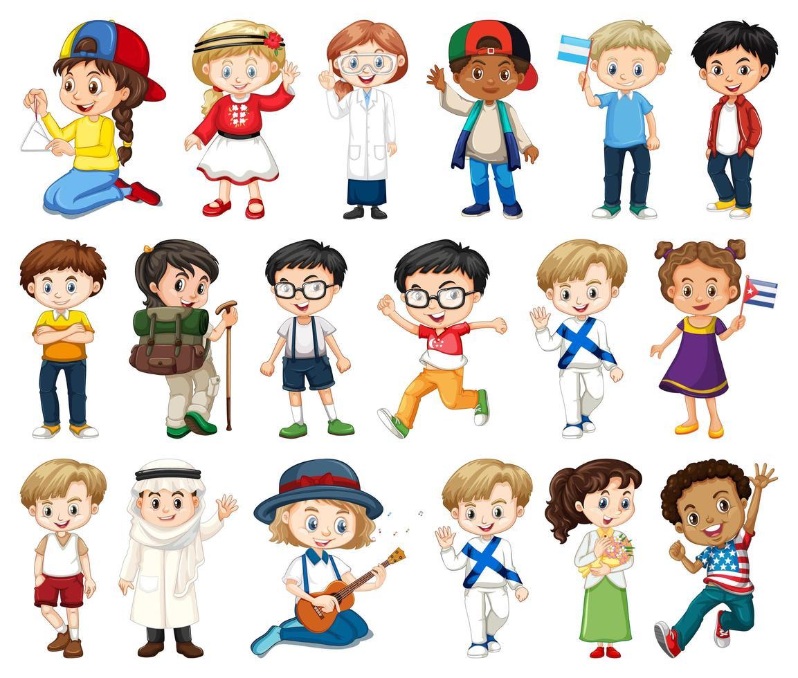 große Gruppe von Jungen, Mädchen in verschiedenen Aktivitäten auf Weiß vektor