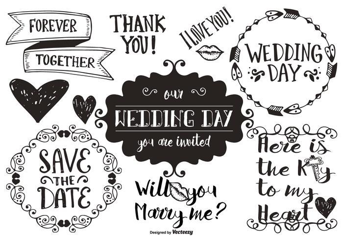 Hand gezeichnete Hochzeitsgekritzel vektor