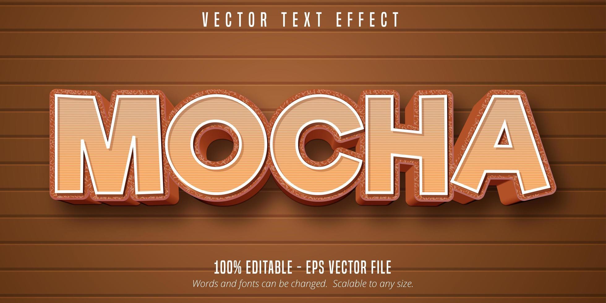 mocka tecknad stil redigerbar texteffekt vektor