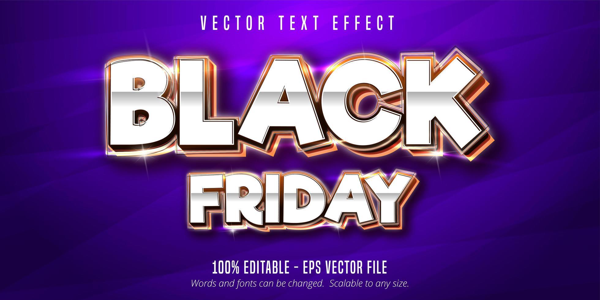 metallisk silver svart fredag redigerbar texteffekt vektor