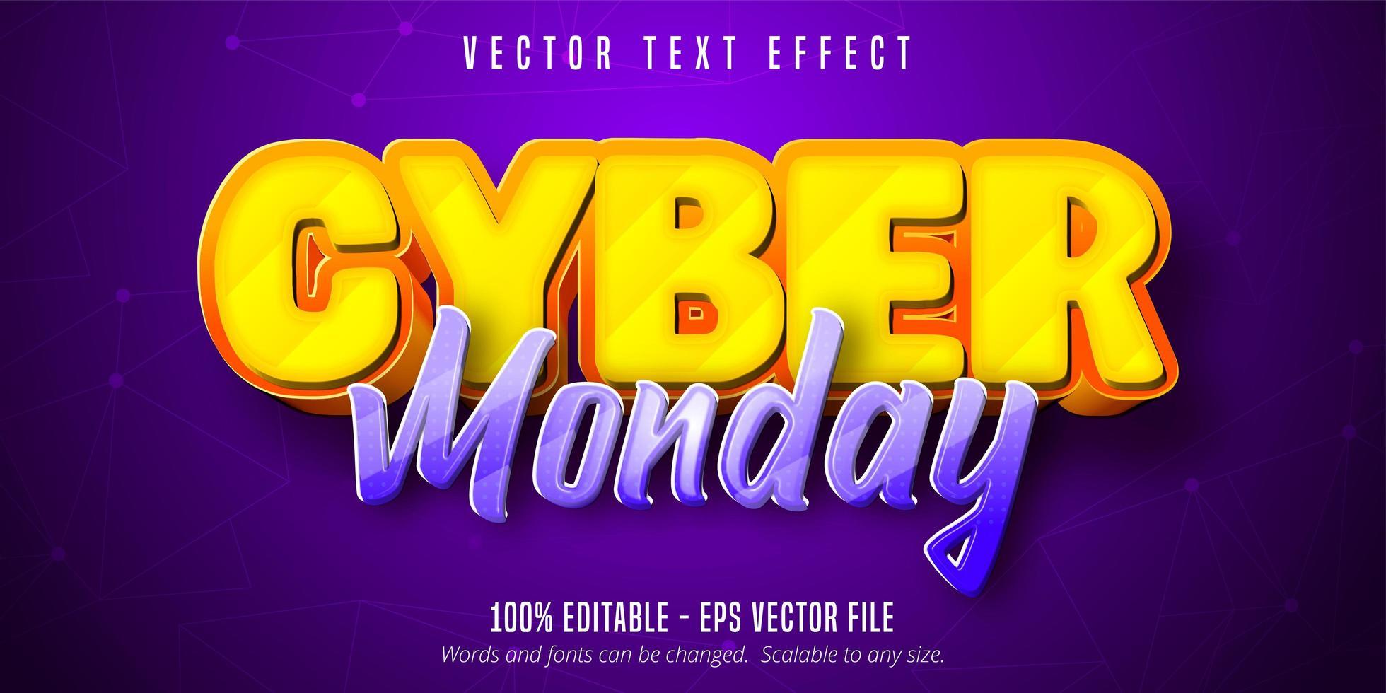 gul och lila cyber måndag tecknad texteffekt vektor