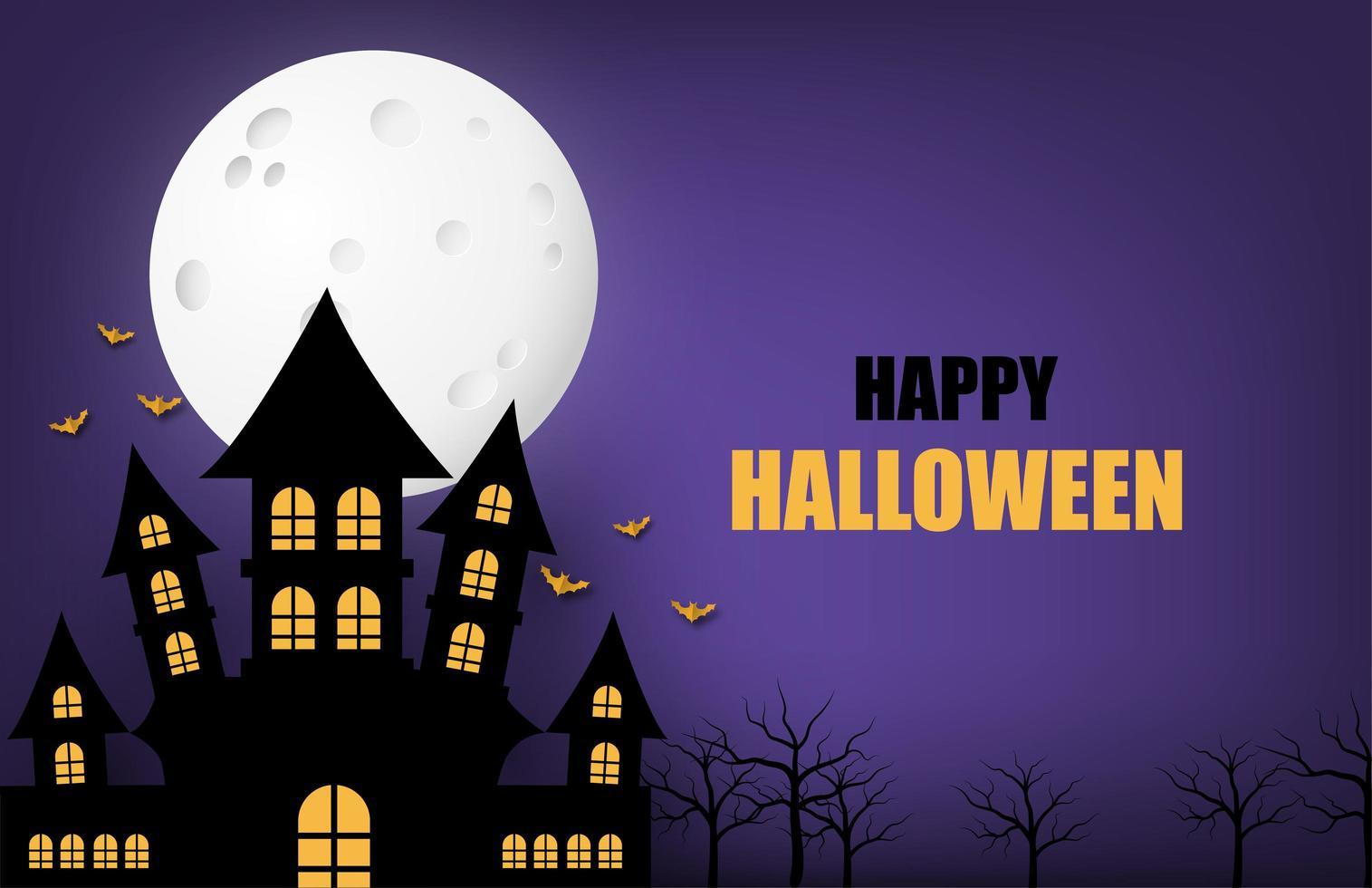 halloween banner med stor måne och spökslott vektor