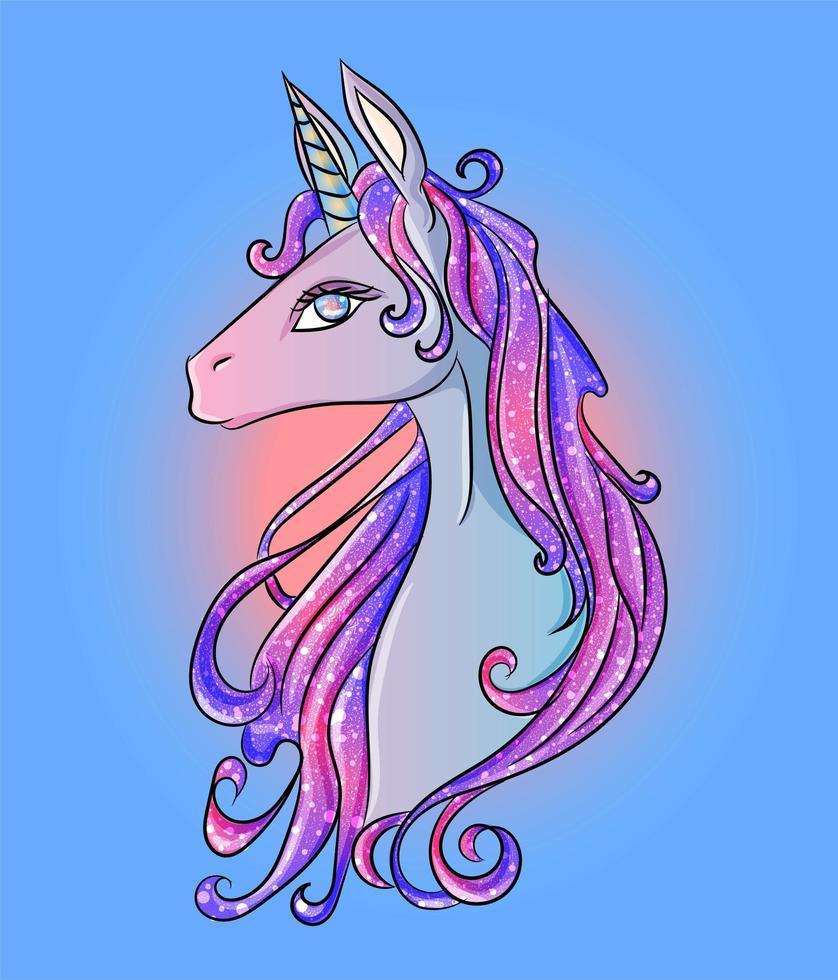 blått, rosa och lila glitter enhörningshuvud vektor
