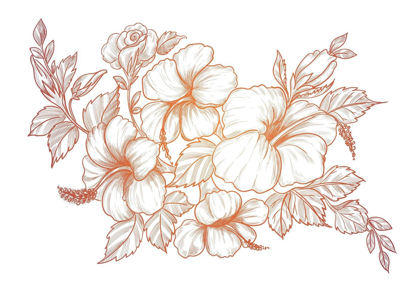 dekorative Blumenmuster der Farbverlaufsskizze vektor