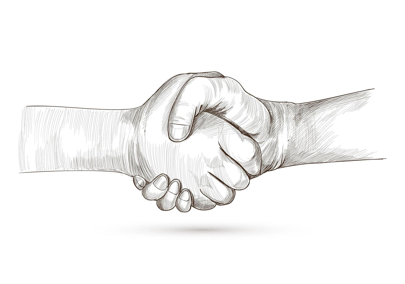 schöne detaillierte Handshake-Skizze vektor