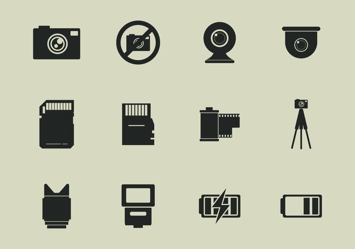 Camara Werkzeuge Icon Set vektor