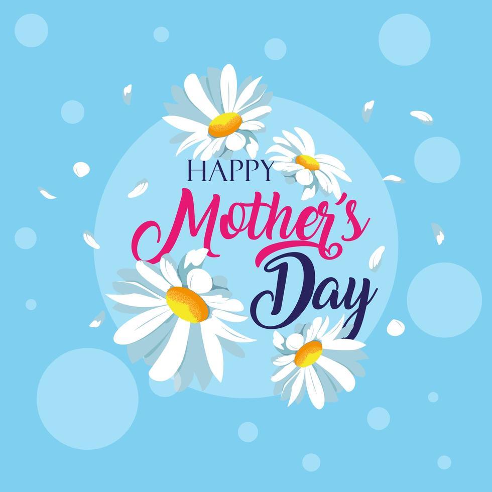 glückliche Muttertagskarte mit Blumendekoration vektor
