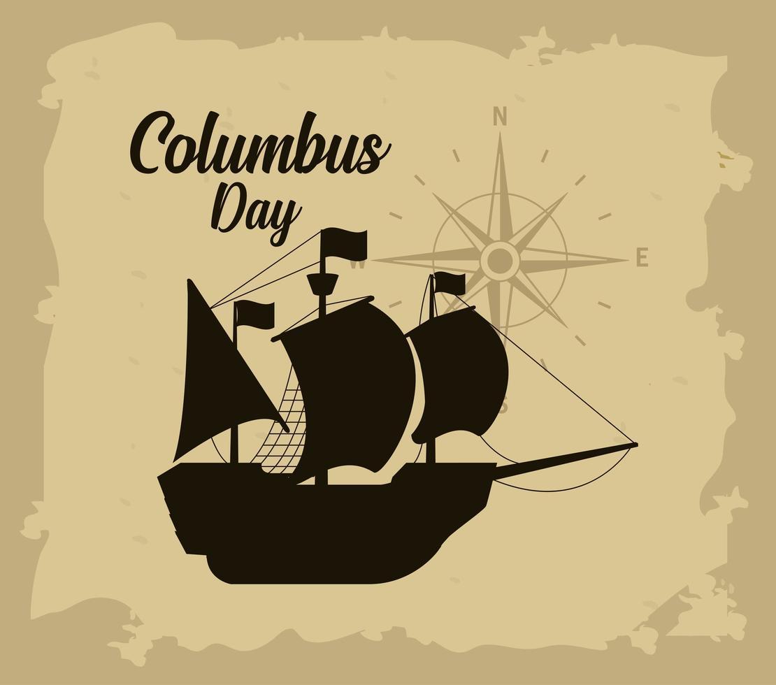 Columbus Tagesgrußkarte vektor