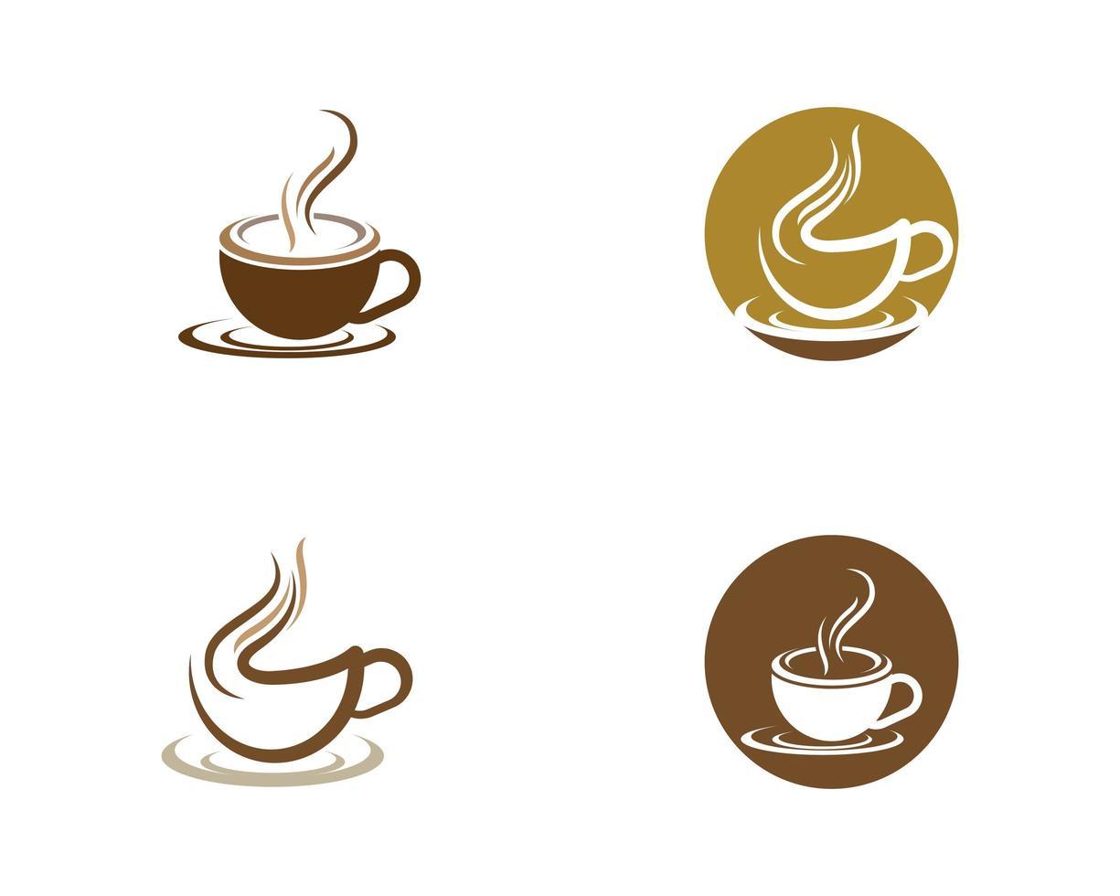 kaffekopp logotyp set mall vektor