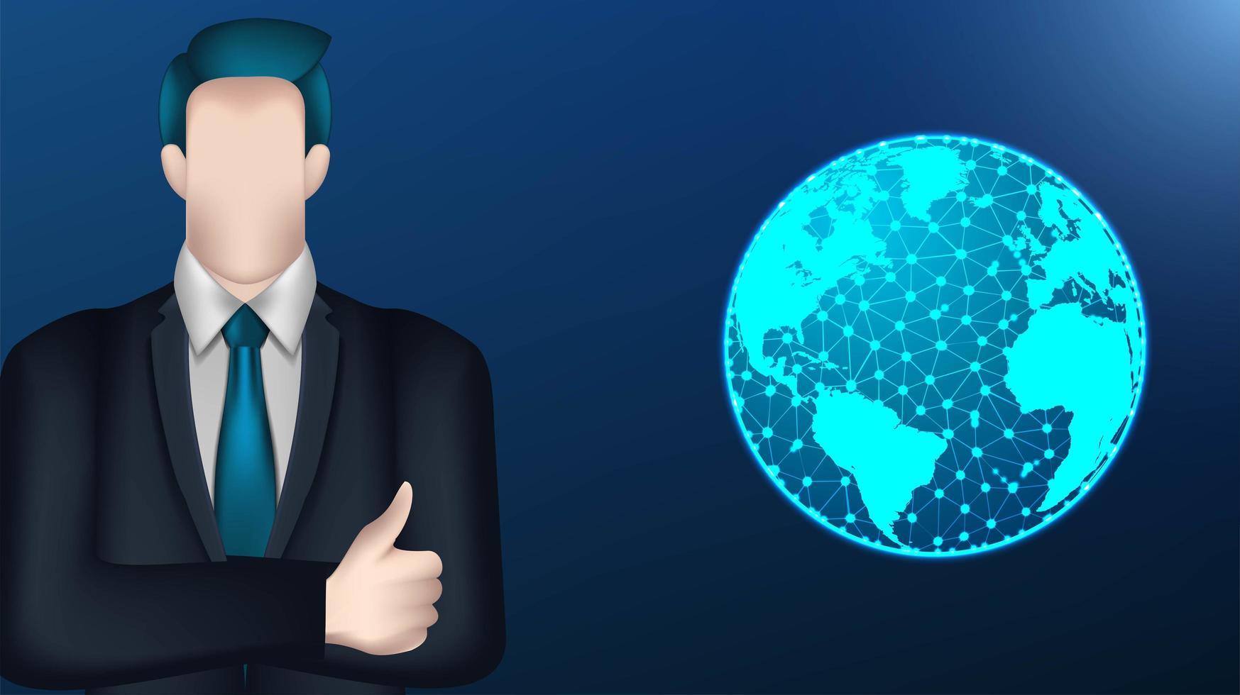 Geschäftsmann und digitaler Globusentwurf vektor