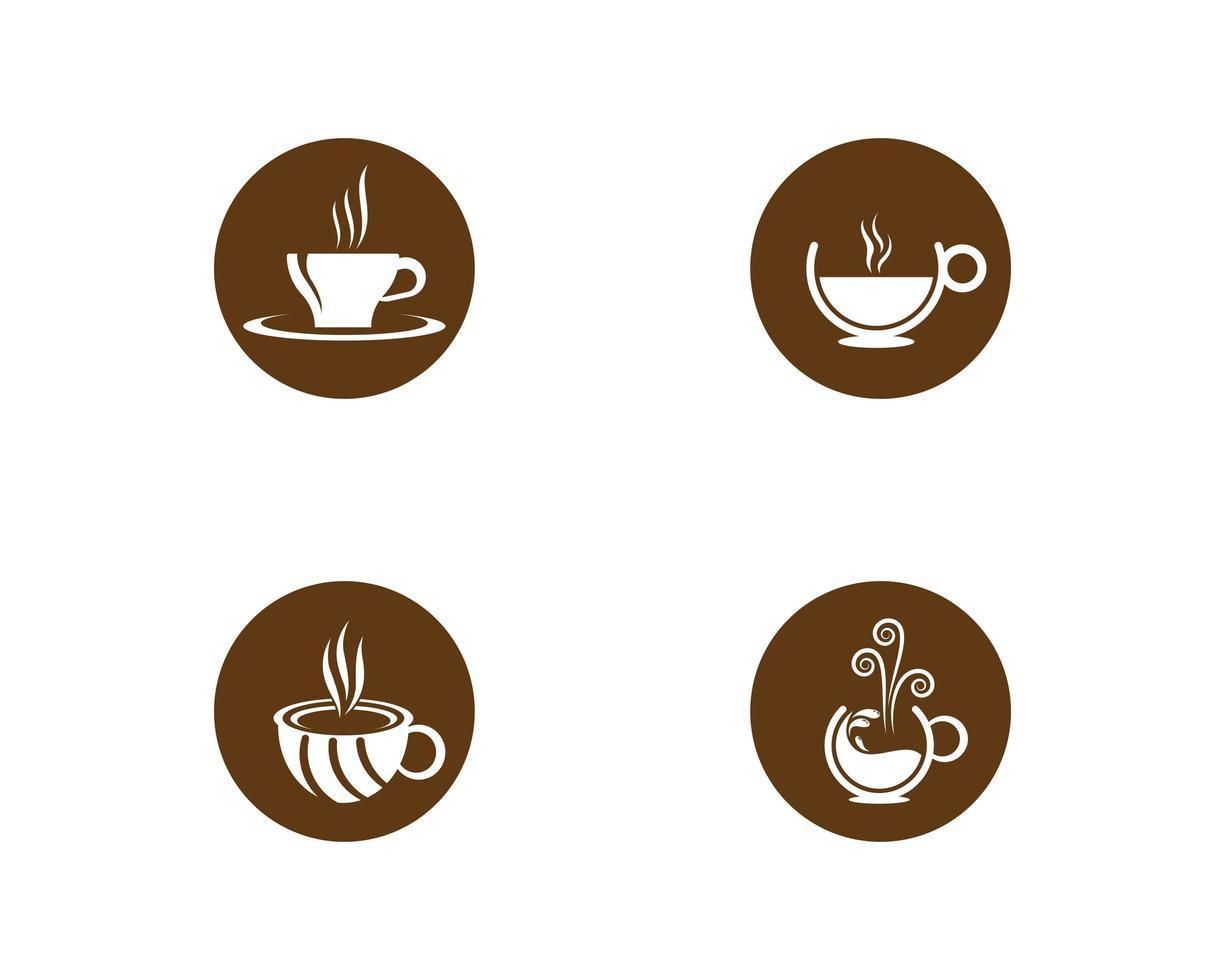 kaffekopp ikonuppsättning vektor