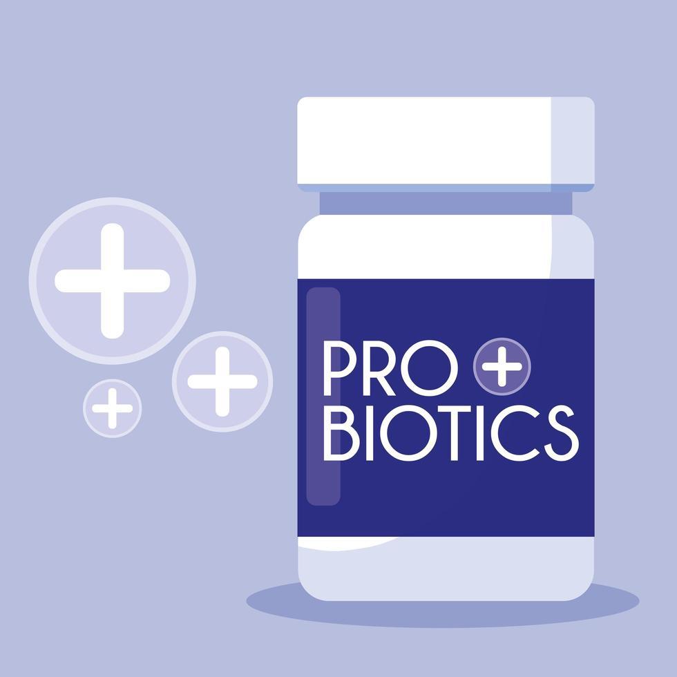 flaska läkemedel probiotika ikon vektor
