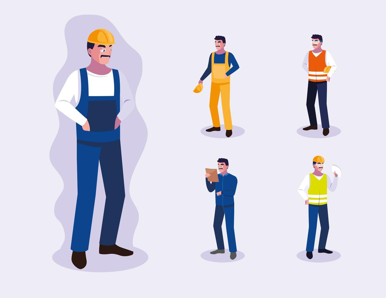 Satz von männlichen professionellen Arbeitern Design vektor