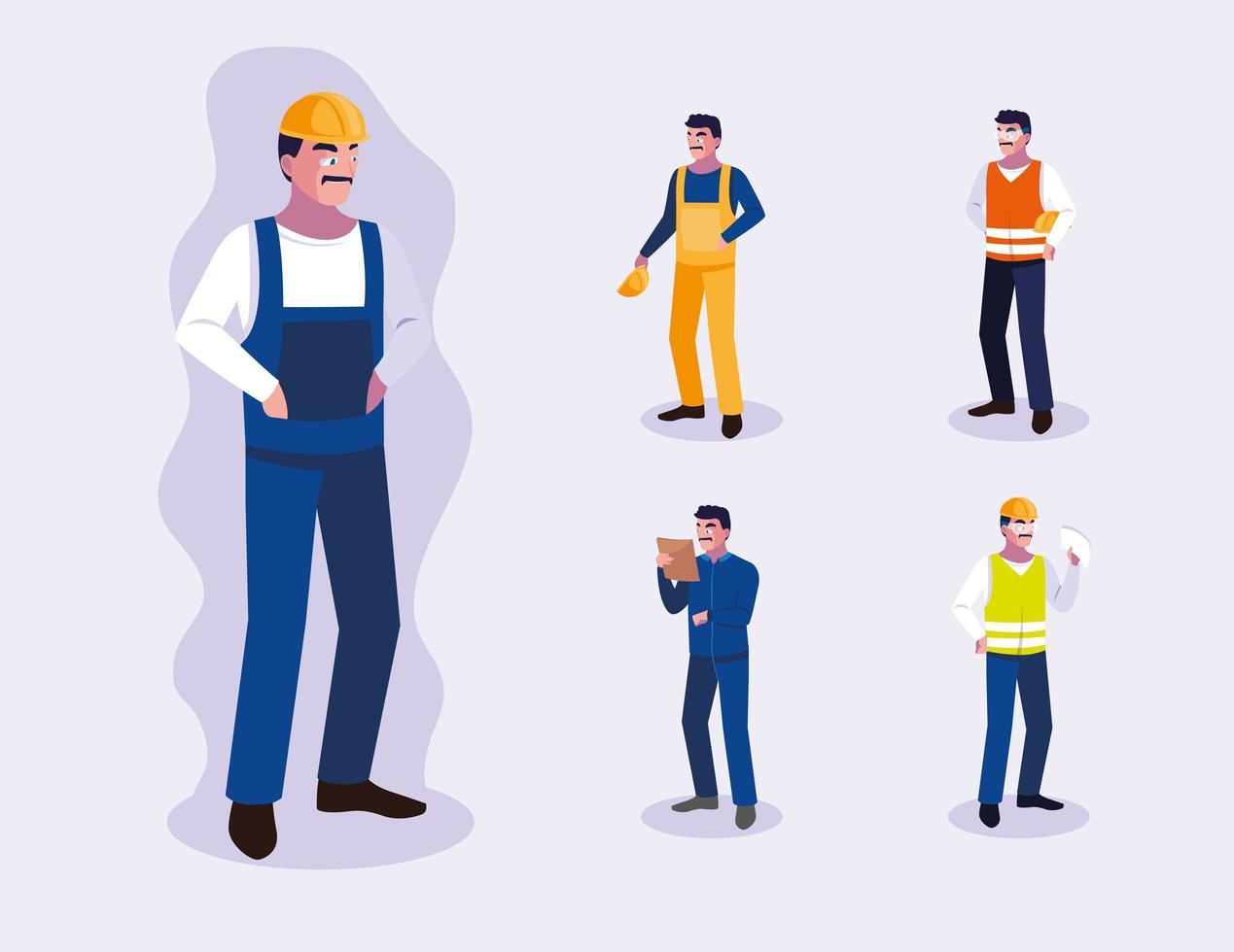 uppsättning manliga professionella arbetare design vektor