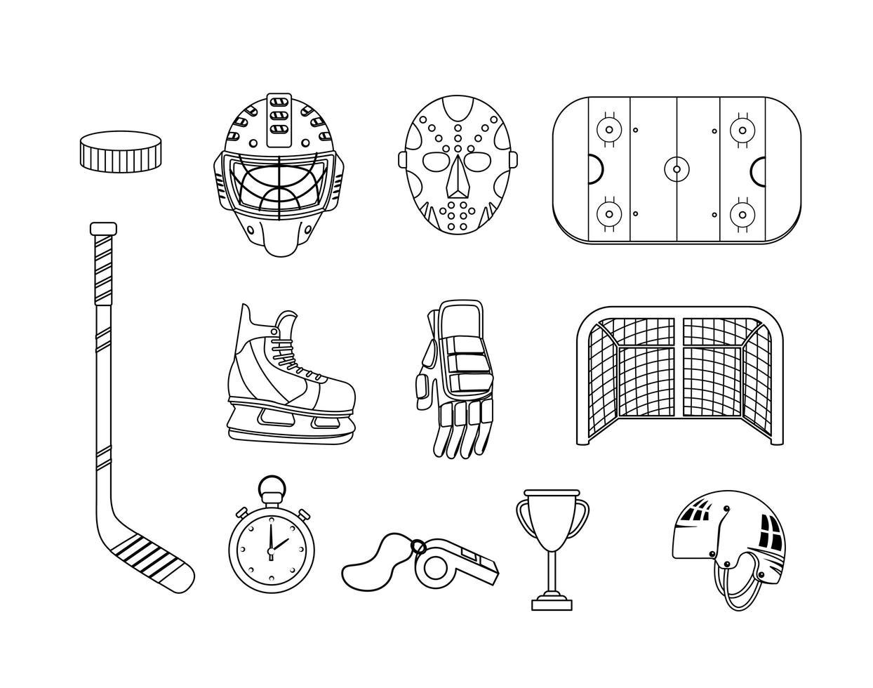Satz Hockeyausrüstung und professionelle Uniformikonen vektor