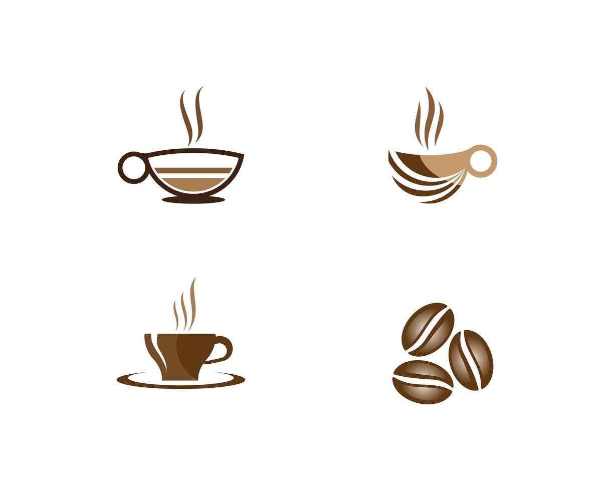 kaffe logotyp set vektor