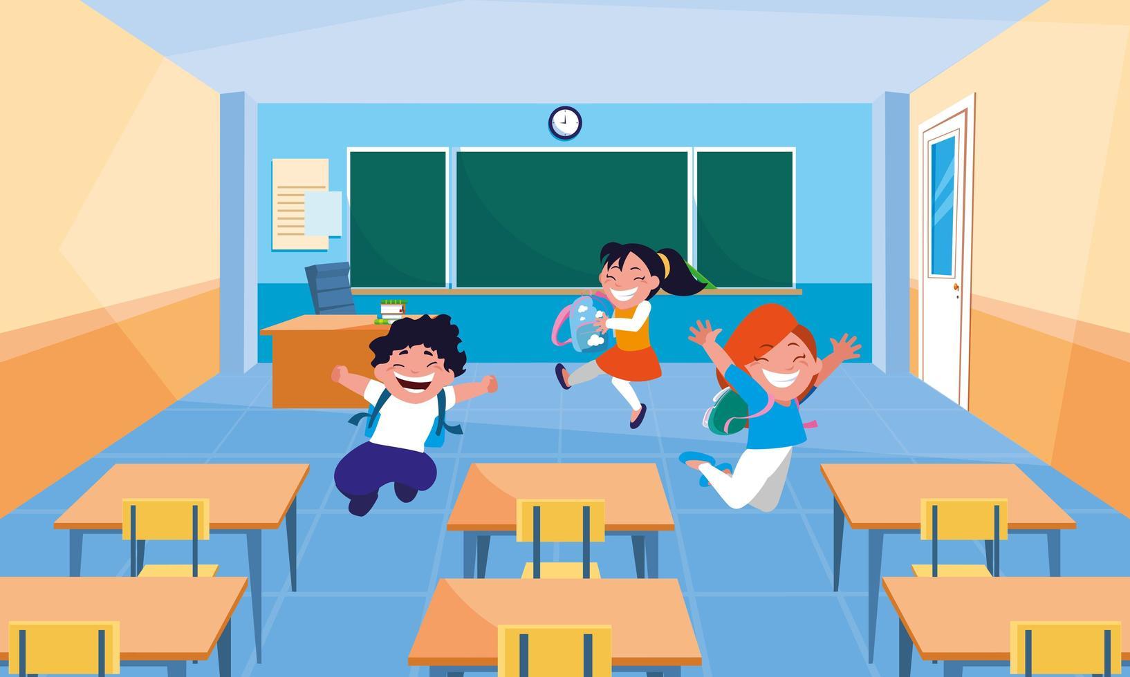 små elever barn i klassrummet vektor