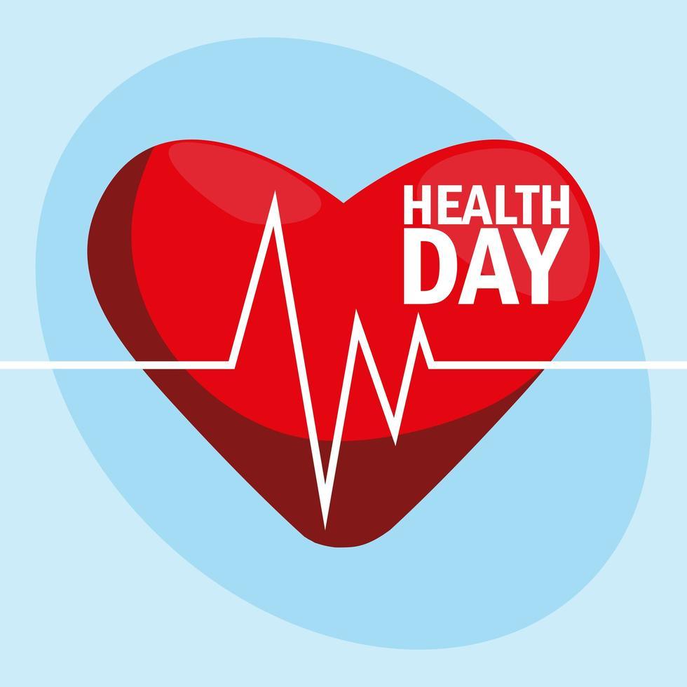 Weltgesundheitstagkarte mit Herz vektor