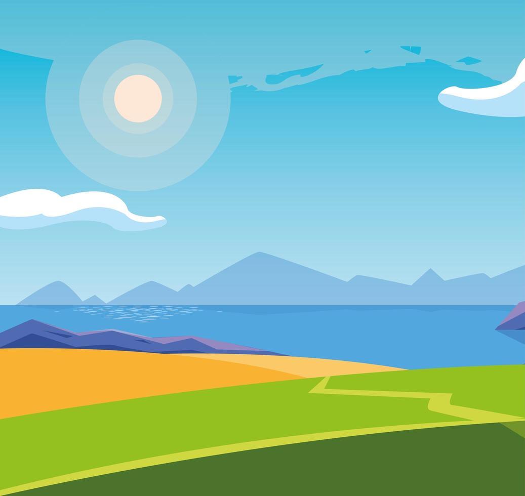 landskap med sjön scen ikon vektor