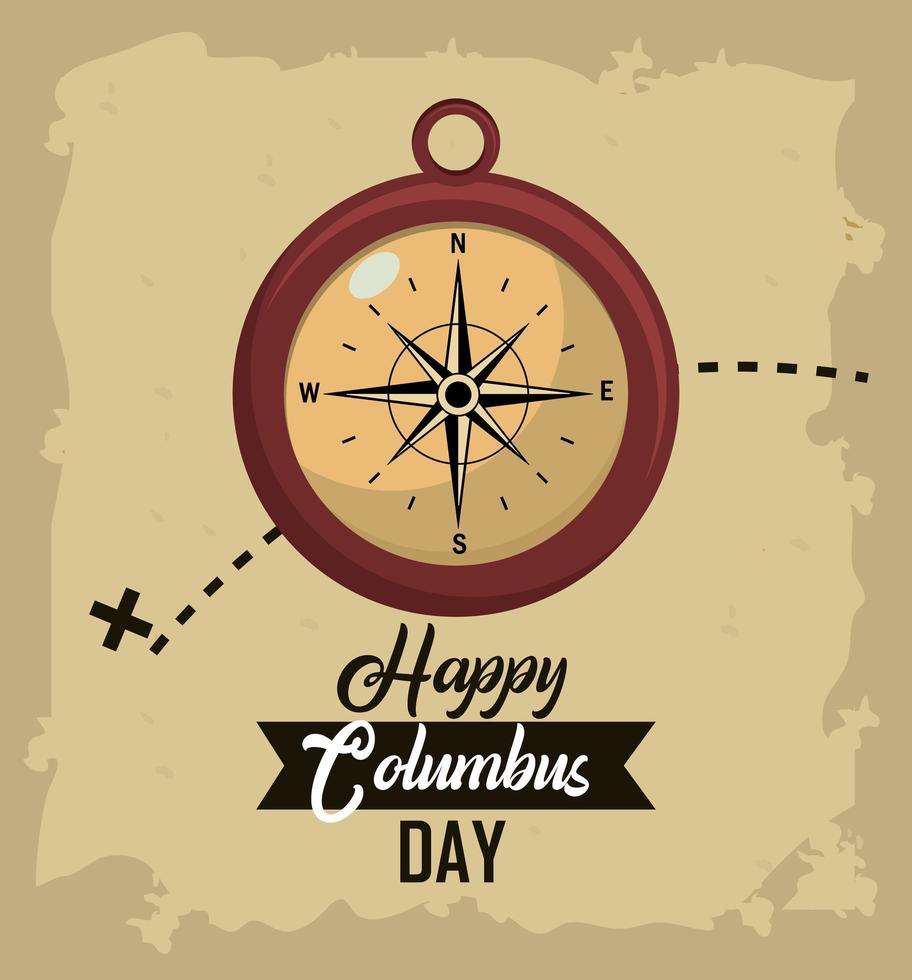 Columbus Tagesgrußkarte mit Kompass vektor