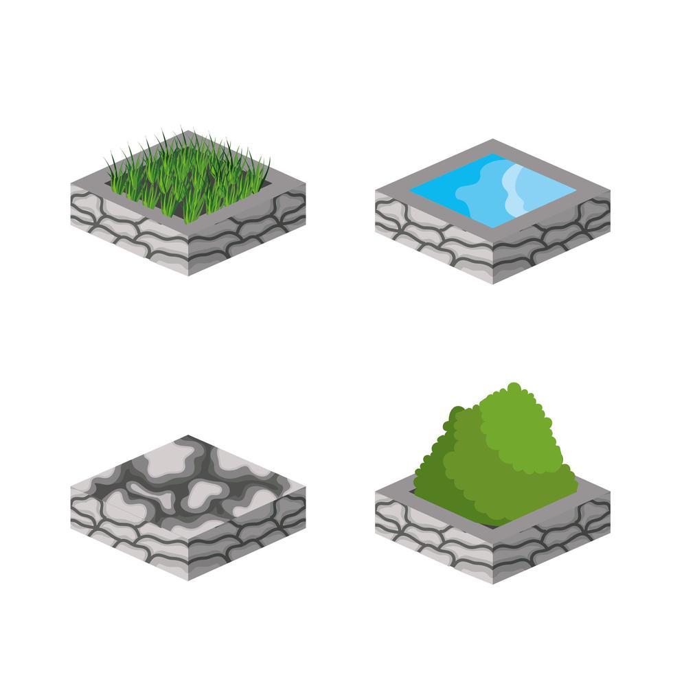 isometrische und 3D-Gebäude-Icon-Set vektor