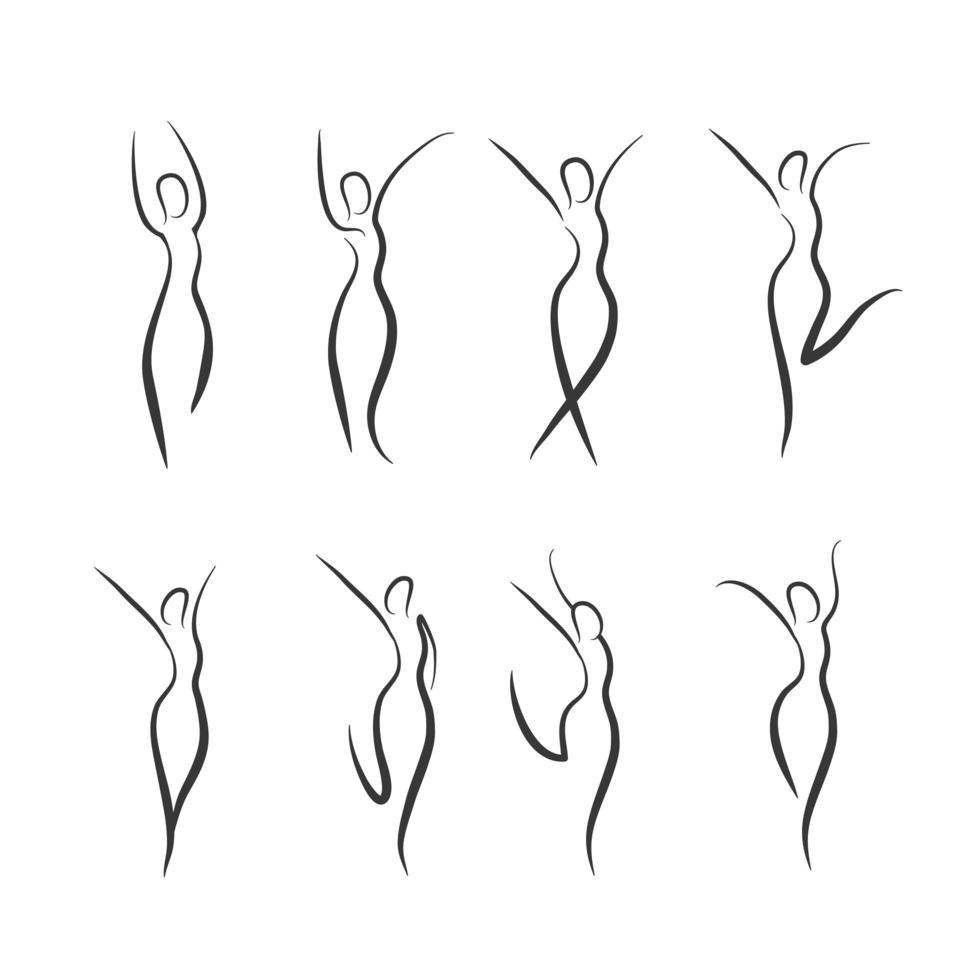 Satz Frauen Silhouetten in einem Wellness-Konzept vektor