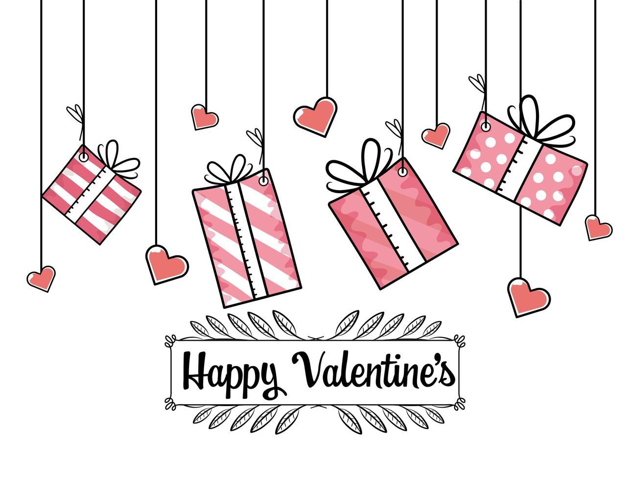 Valentinstag Geschenke mit Herzen Design vektor