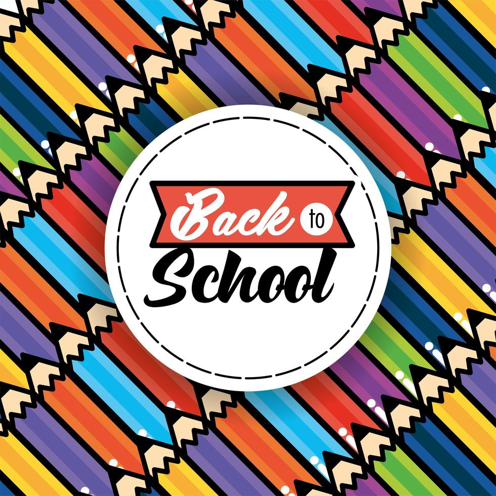 tillbaka till skolan mönster bakgrund med pennor vektor