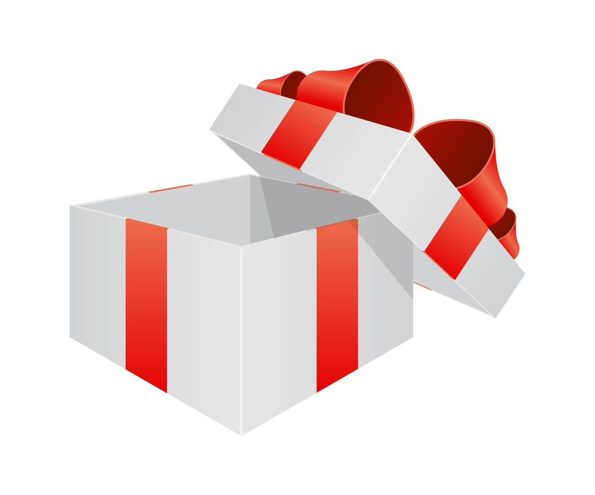 geöffnete Geschenkbox mit Band vektor
