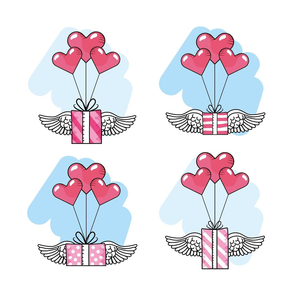 Herzballons mit geflügelten Geschenkboxen Symbolsatz vektor