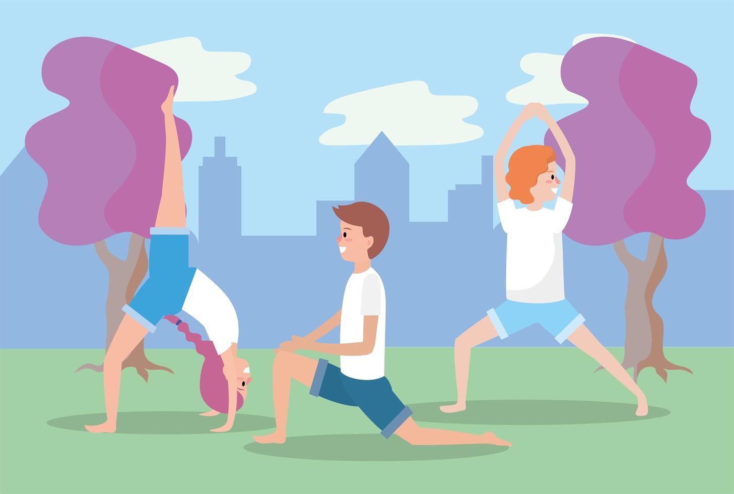 unga människor som gör yoga utomhus vektor