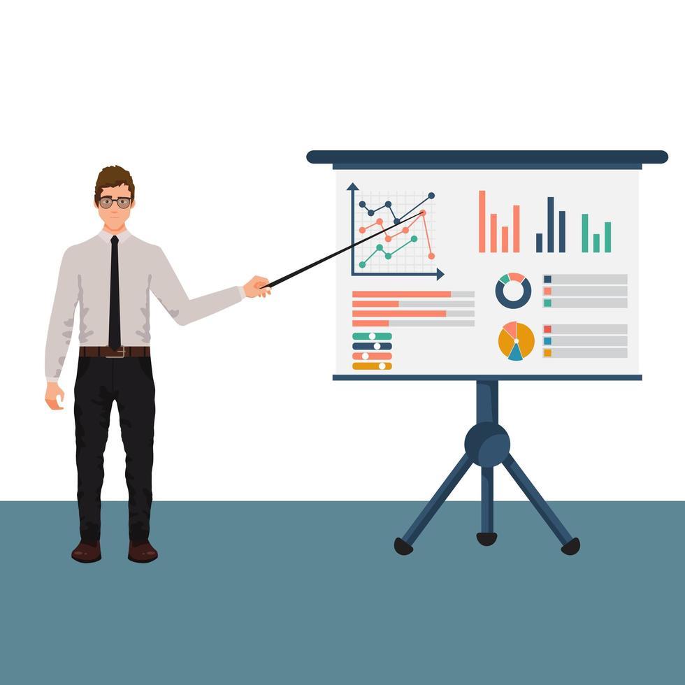 affärsman karaktär med infographics presentationstavla vektor