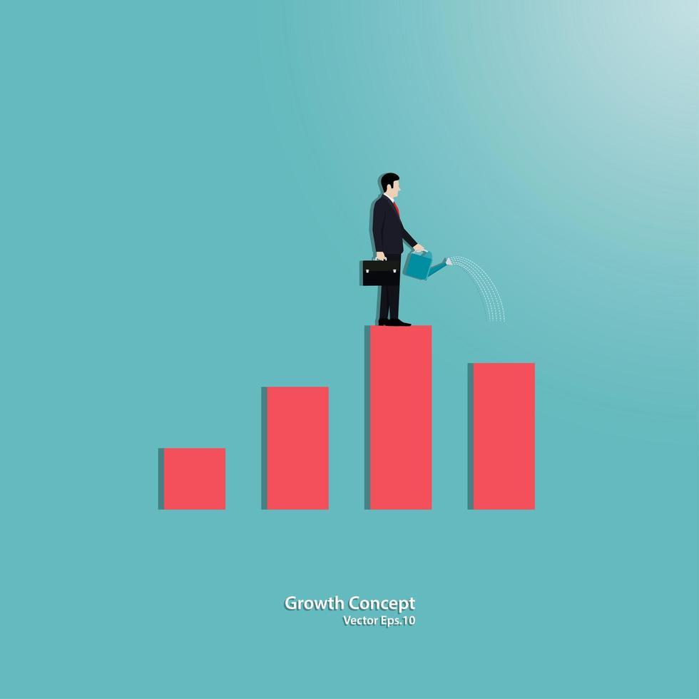 Geschäftsmann, der kleine Grafik wässert, die wächst vektor