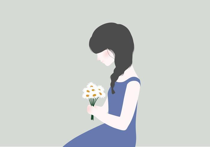 Kvinna Med Blommor Illustration vektor