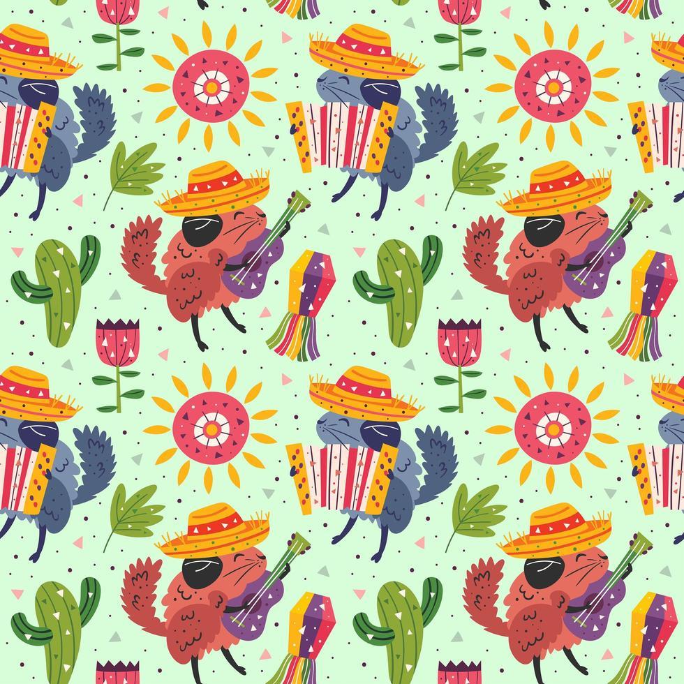 süße Chinchillas in Sombrero mit Gitarre, Akkordeonmuster vektor