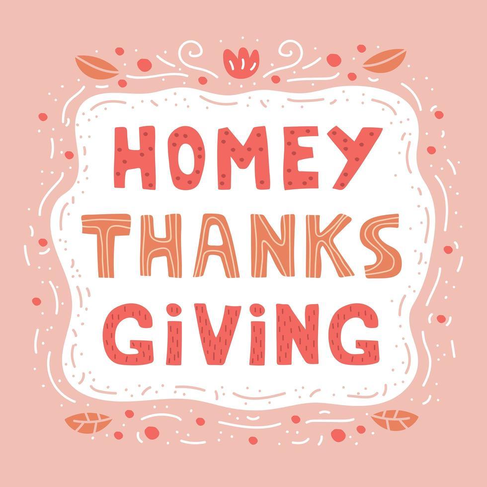 folklig tacksägelse handritad bokstäver vektor