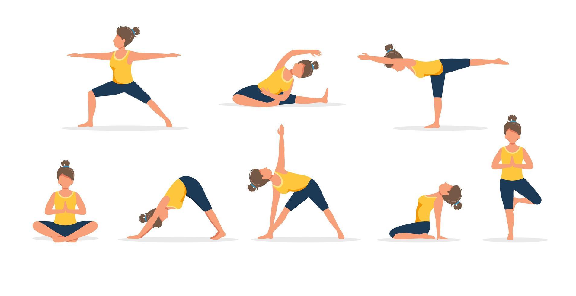 kvinna som övar yoga, uppsättning av olika poser vektor