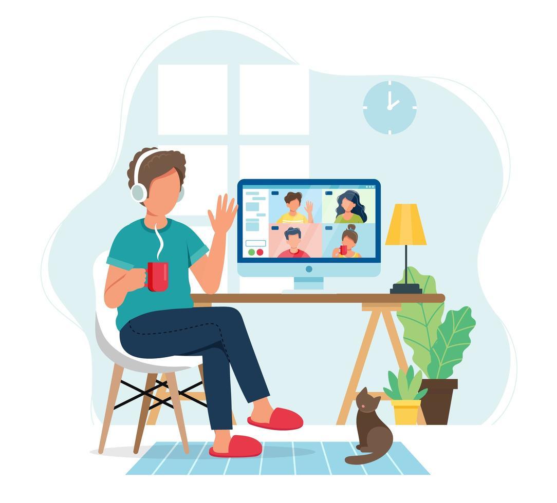 man pratar med vänner i videokonferens vektor