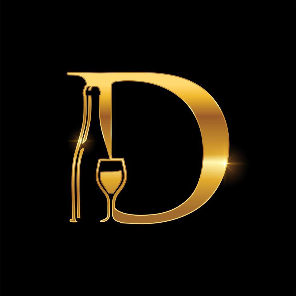 goldenes Glas und Weinflasche Buchstabe d Emblem vektor