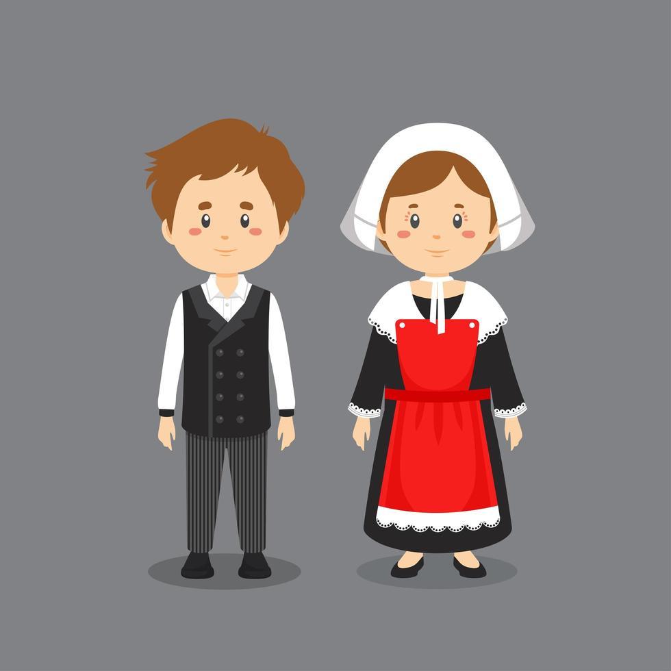 Paar Charaktere in französischer Nationaltracht vektor