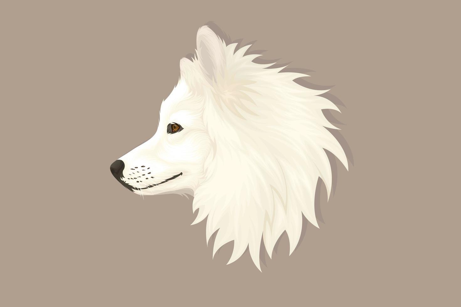 weißer Hundekopf im realistischen Stil vektor