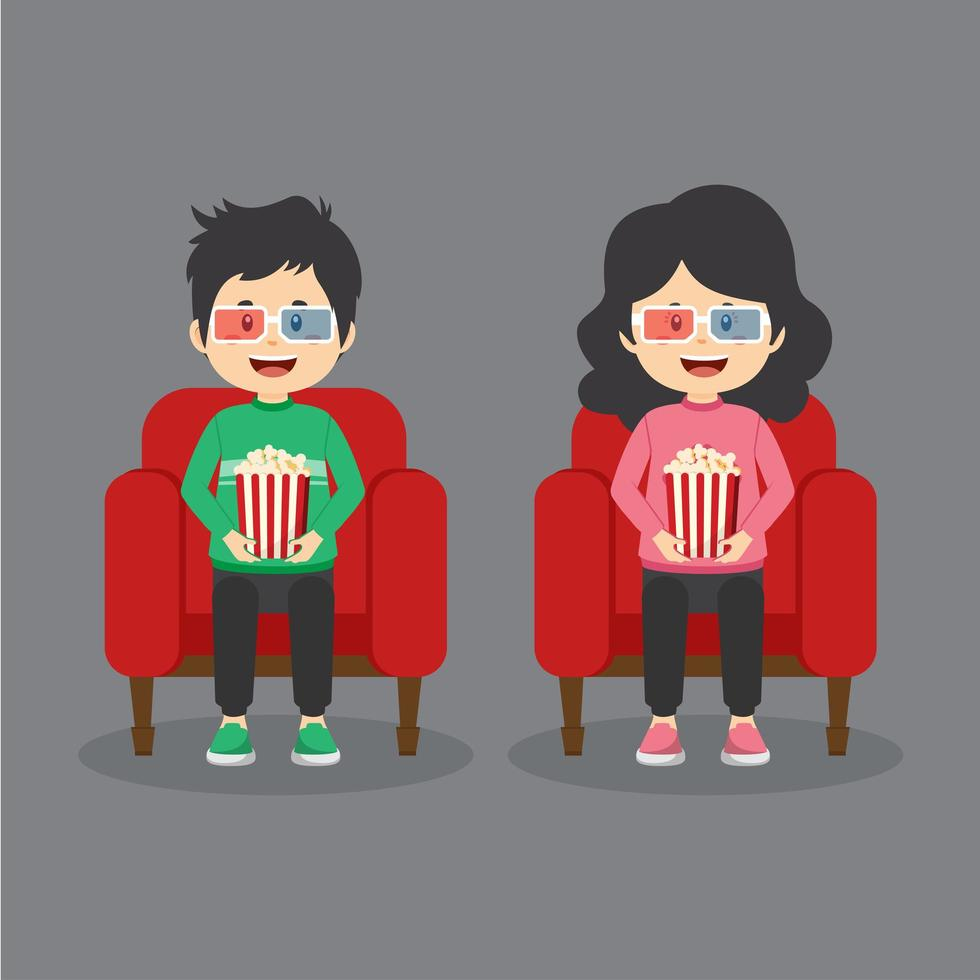 Paar Charaktere sitzen im Kino vektor
